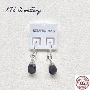 Black Stone Drop Earrings - 925 Sterling Silver - Brensales