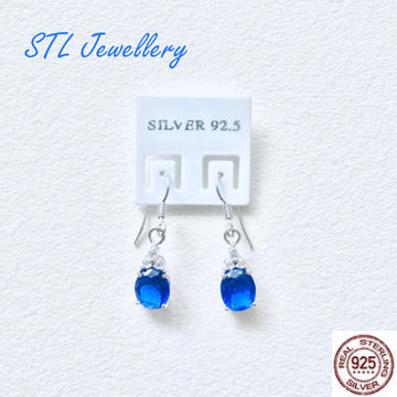 Blue Stone Drop Earrings - 925 Sterling Silver - Brensales