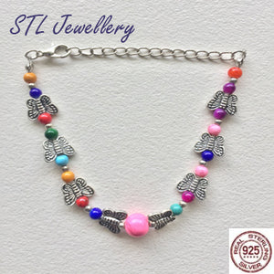 Multi Colour Butterfly Bead Bracelet - Brensales