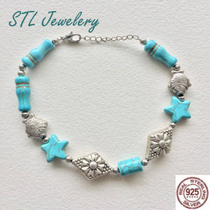 Turquoise Star Stone and Silver Fish Bracelet - Brensales.com