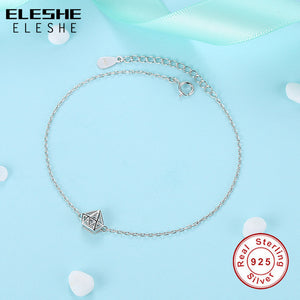 Hollow Round Cut Clear Cubic Zirconia Charm Bracelet - 925 Sterling Silver - Brensales.com