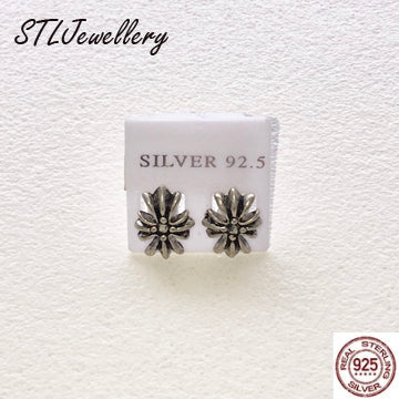 Flower Stud Earrings - 925 Sterling Silver - Brensales