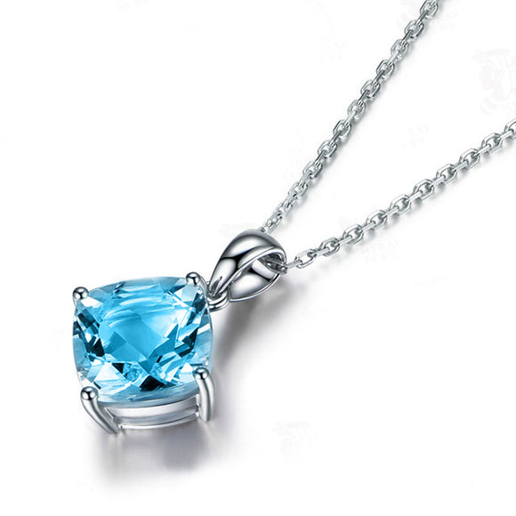 Blue Topaz Water Drop Pendant Necklace - 925 Sterling Silver - Brensales