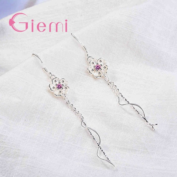 Flower Drop Earrings - Cubic Zirconia - 925 Sterling Silver - Brensales