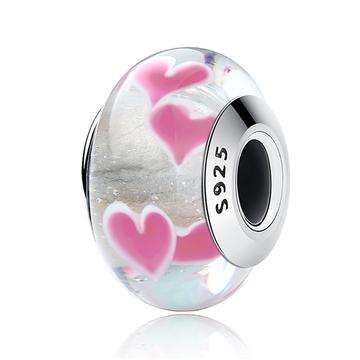 Pink Hearts Bead - 925 Sterling Silver - Brensales