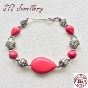 Red Stone and Silver Fish Chain Bracelet - Brensales