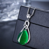 Jade Turquoise Pendant Necklace - 925 Sterling Silver - Brensales
