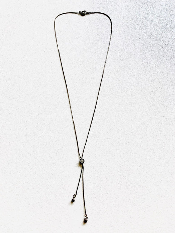 Drop Diamante Split Necklace - Brensales