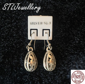 Oval Drop Earrings - 925 Sterling Silver - Brensales