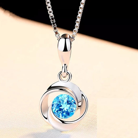 Blue Aquamarine Crystal Circle Pendant Necklace - 925 Sterling Silver - Brensales