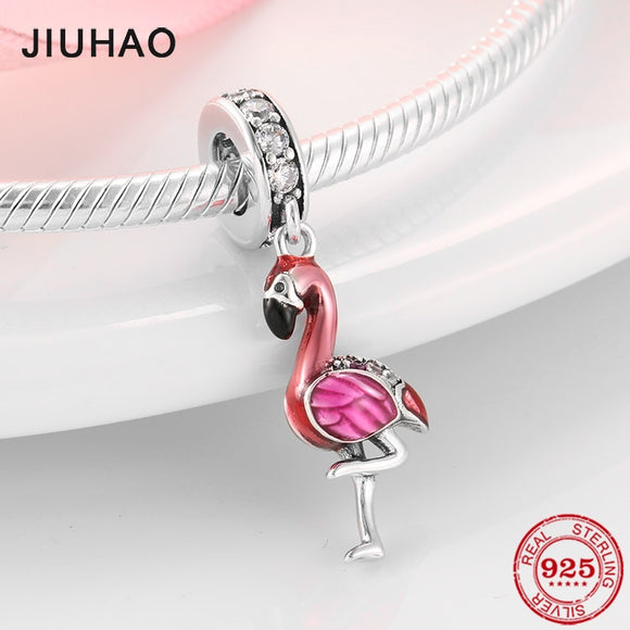 Flamingo Enamel  and Crystal - Charm - Fits Bracelets - 925 Sterling Silver - Brensales