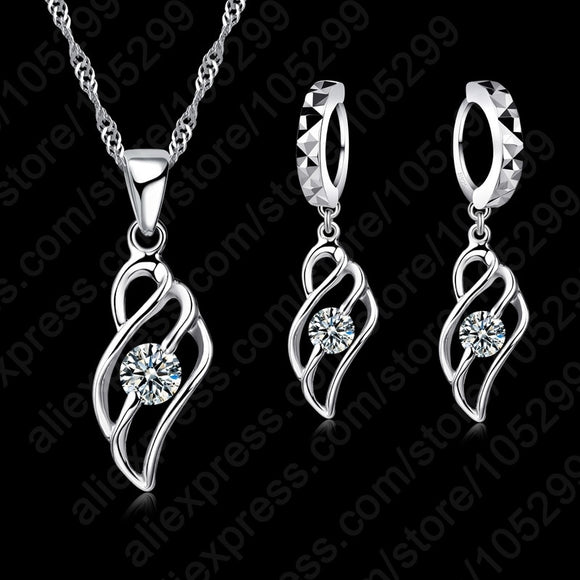 Pendant Necklace and Earrings Set  - 925 Sterling Silver - Brensales