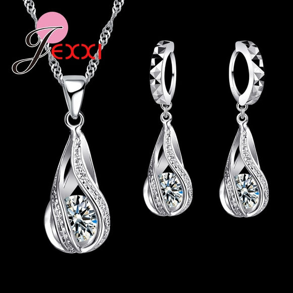 Romantic Drop Shape Crystal Necklace and Earring Set - 925 Sterling Silver - Brensales