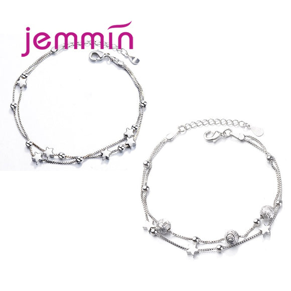 Beads Double Chain Charm Bracelet - 925 Sterling Silver - Brensales