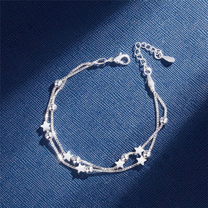 Double Layered Bracelet/Star Beads  - 925 Sterling Silver - Brensales