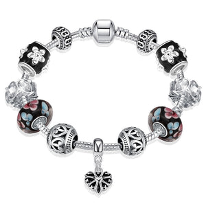 Heart Shape Beaded Charm Bracelet - 925 Sterling Silver - Brensales