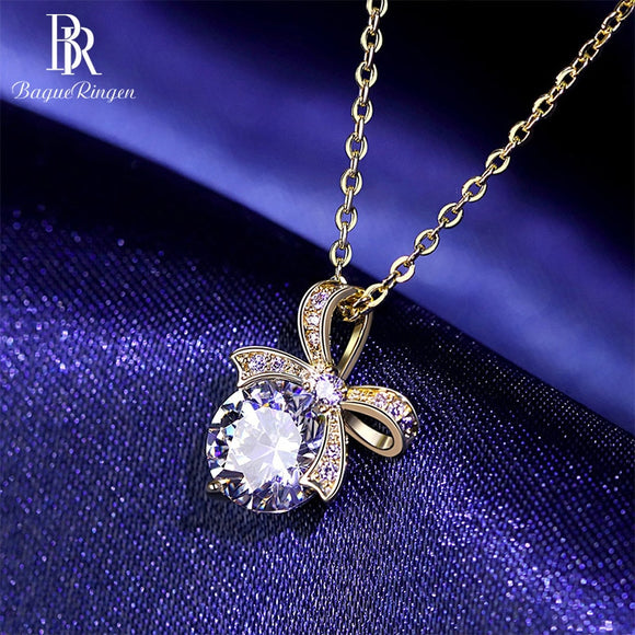 Spinel Bowknot Pendant Necklace - 925 Sterling Silver - Brensales