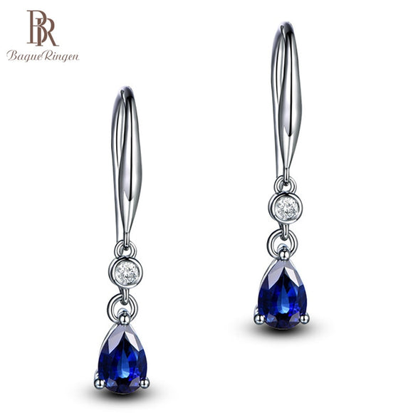 Sapphire Drop Earrings 925 Sterling Silver - Purple/Blue/Yellow - Brensales