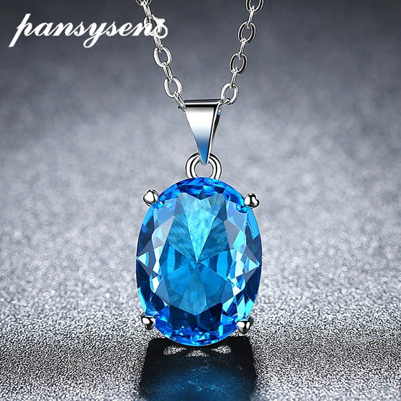 Oval Sea Blue Topaz Pendant Necklace - 925 Sterling Silver - Brensales