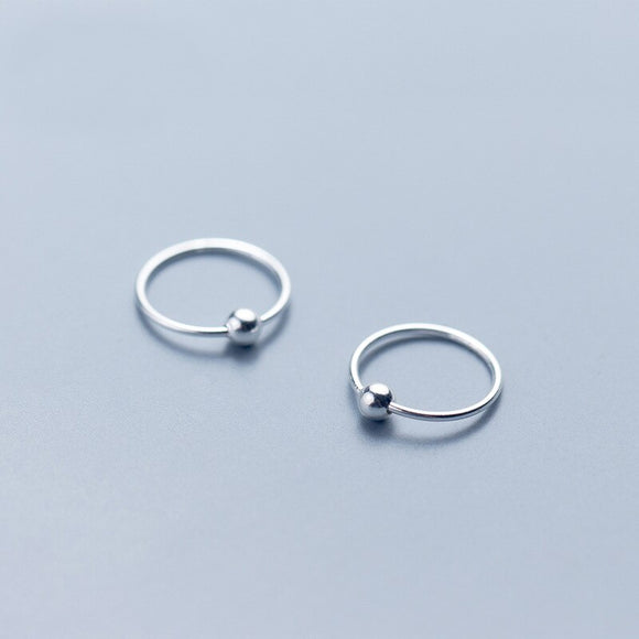 Plain Ball Round Hoop - 925 Sterling Silver Earrings 6mm - 12mm - Brensales