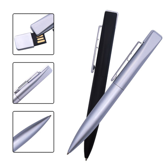 Metal Pen USB 2.0 Flash Drive Pen - Silver and Black - Brensales