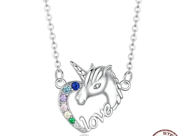 Unicorn Of Love Necklaces Cubic Zirconia Pendant Long Chain  - 925 Sterling Silver - Brensales