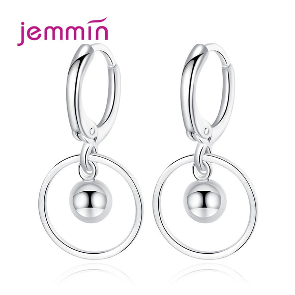 Ball and Circle Drop Earrings - 925 Sterling Silver - Brensales
