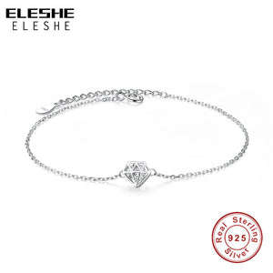 Hollow Round Cut Clear Cubic Zirconia Charm Bracelet 925 Sterling Silver Bracelet for Women Fashion Jewelry Gift