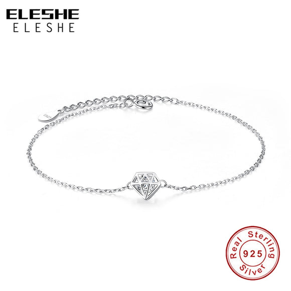 Hollow Round Cut Clear Cubic Zirconia Charm Bracelet