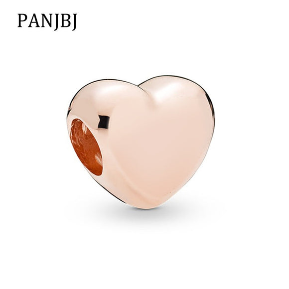 Rose Gold Coloured Heart Charm - Fits Bracelets - Brensales