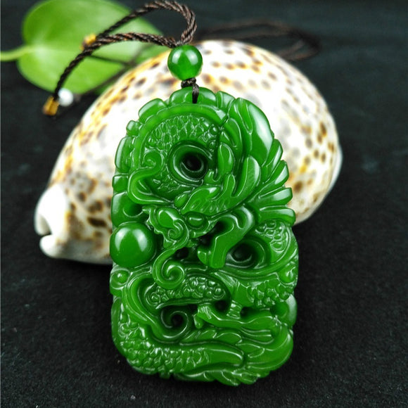 Jade Hetian Carved Dragon Pendant Necklace - Brensales