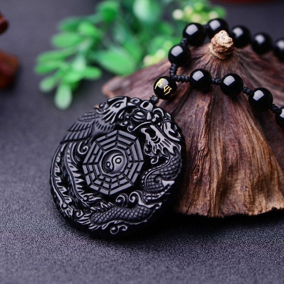 Natural Black Obsidian Dragon Pendant Necklace - Brensales