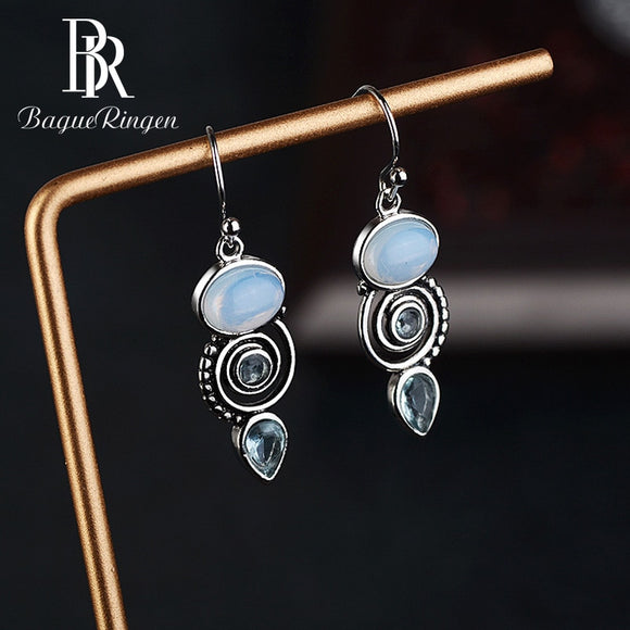 Blue Topaz Vintage Drop Earrings - 925 Sterling Silver - Brensales