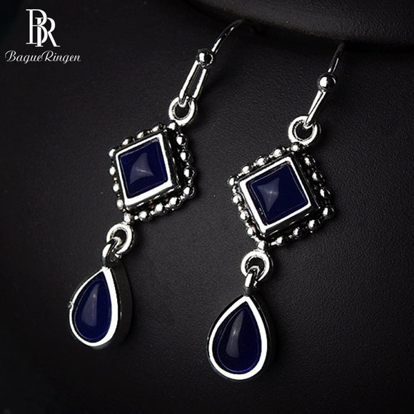 Geometric Sapphire Drop Earrings - 925 Sterling Silver - Brensales