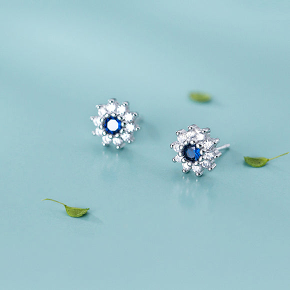 Darling Daisy Stud Earring with Clear Blue Zirconia - 925 Sterling Silver - Brensales