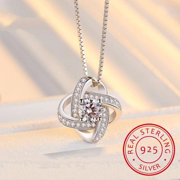 Crystal Clover Pendant Necklace - 925 Sterling Silver - Brensales