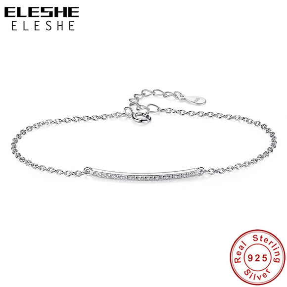Crystal Simple Bar Silver Bracelet