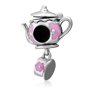 Flamingo Bird - Teapot Luminous - Butterfly Pendant - Charms - Fits Bracelets - 925 Sterling Silver - Brensales