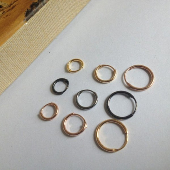 Small Plain - 925 Silver Gold Plated Round Hoop Earrings Pairs - 8mm 10mm 13mm - Brensales