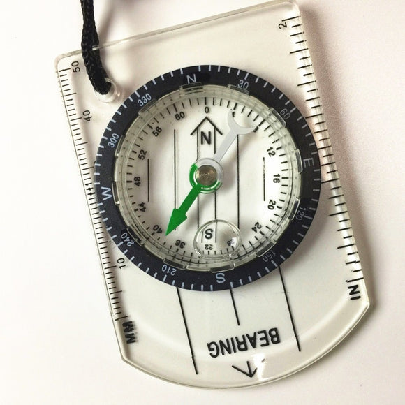 Mini Compass and Map Scale Ruler - Outdoor Hiking Camping Survival Tool - Brensales