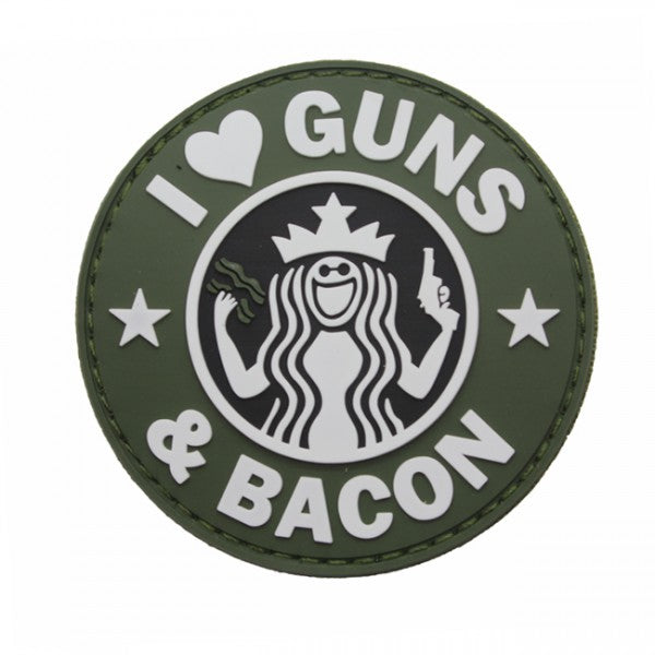 GUNS & BACON PATCH - OLIVE