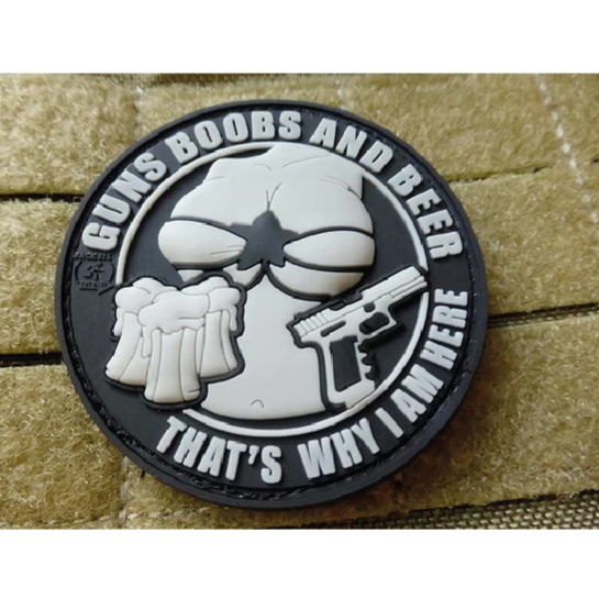 GUNS BOOBS AND BEER RUBBER PATCH COLOR