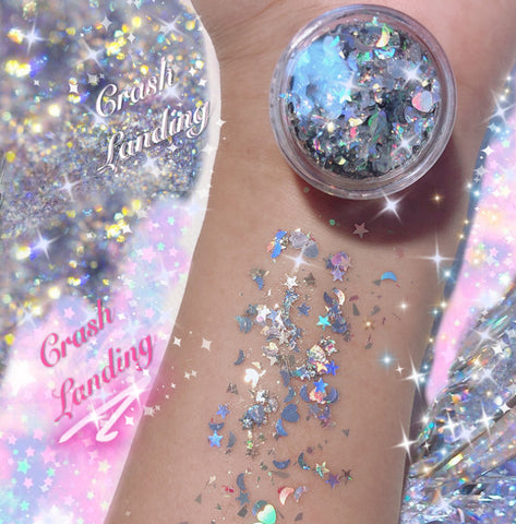 *CRASH LANDING* MERMAID JELLY (FACE/BODY/HAIR) GLITTER GEL - inkeddollcosmetics