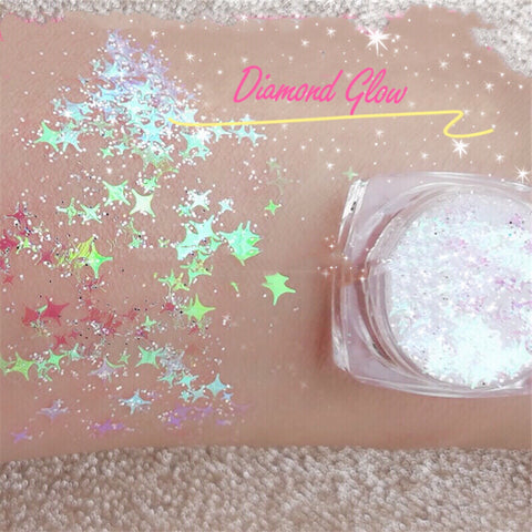 DIAMOND GLOW - CHOOSE (White, Chrome or Pink!) (Face/Body/Hair) Glitter Gel