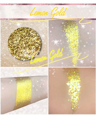 LEMON GOLD *LMT EDT* Summer Festival Pressed Glitter - inkeddollcosmetics