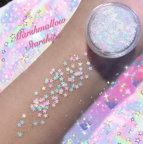 *MARSHMALLOW STARSHIPS* MERMAID JELLY (FACE/BODY/HAIR) GLITTER GEL - inkeddollcosmetics
