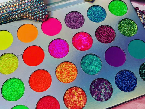 NEON LIGHTS (24PC) *BLACKLIGHT!* Pigment/Glitter Pallete! - inkeddollcosmetics