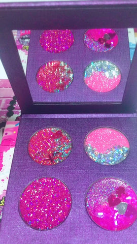 """TRUE LOVE HEARTS"" Pressed Glitter Quad! - inkeddollcosmetics"