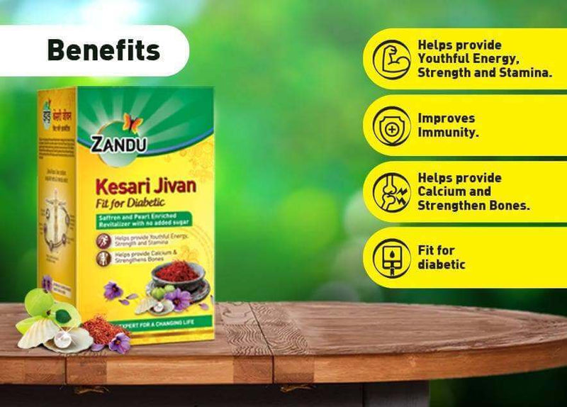 Kesari Jivan Fit for Diabetic (450g) & Karela Jamun Juice (500ml)