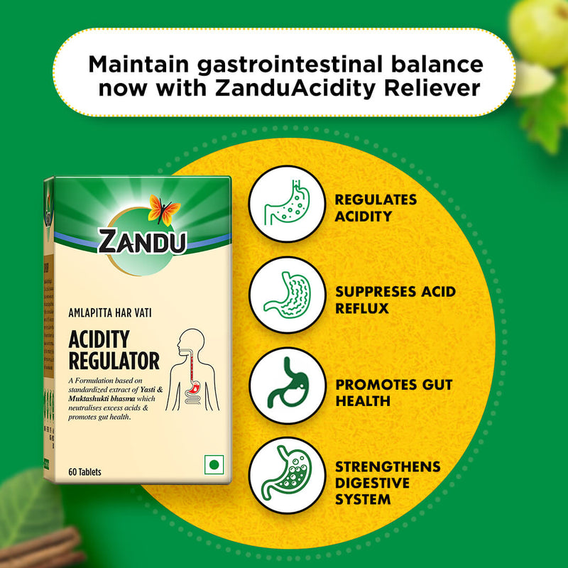 Zandu Acidity Regulator (Amlapitta Har Vati) - (60 Caps) (Buy 1 Get 1)